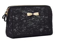 VICTORIA'S SECRET BLACK LACE LARGE BEAUTY BAG MAKEUP COSMETIC CASE PURSE TRAVEL