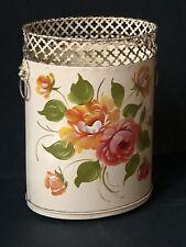 Rare! Mcm Vintage Pink Peach Painted Floral Lions Gold Trash Can Wastebasket