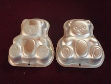 2 TEDDYBEARS  muffin MINI BAKE PANS jello pudding craft ALUMINUM MOLDS