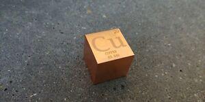 1 inch 25.4 mm  Copper Cu metal element cube periodic table 99.9% pure