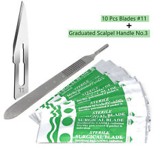 10 Scalpel Blades 11 Includes 3 Metal Handle Suitable For Dermaplaning Crafts
