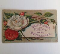 Victorian Trade Card Ilion NY Dodson & Williamson Florists Vintage Ad Card