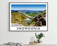 Snowdonia Landscape Vintage Travel Poster, Modern Wall Art Print
