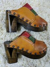 60s 70s Platform Vintage Shoes Colorblock Leather Wooden Heel Hillari Brasil 6.5