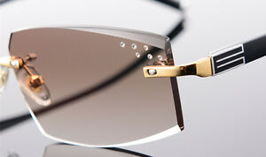 Custom made Man Gold Rectangular Rimless Frame RX able Sunglasses Eyeglasses