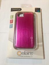 Cellairis Pink Metallic Back Hard Plastic Case Cover & LCD Protector iPhone 5 5s