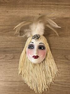 """Vintage Unique Creations Lady Face Mask Wall Hanging Decor, Face measures 4""""x3"""""""