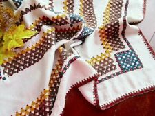 "Rustic Hand-Embroidered Italian Tablecloth Mid-Century - Cotton Grain Sack 45"""