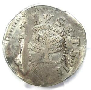 1652 Massachusetts Pine Tree Large Shilling 1S - PCGS VF Details - Rare Coin!