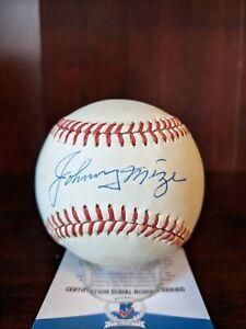 Johnny Mize Signed Autographed OML Baseball Beckett BAS Cert Yankees Cards HOF