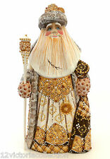 White Christmas SANTA Russian Wooden Hand Carved Hand Paint Sign by the Artist