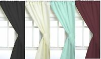 Solid Color 2 Piece Tier Panel Window Curtain Set with Tiebacks & Adhesive Hooks