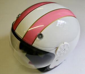 HCI Open Face Fiberglass Motorcycle Helmet - White w/ Pink Stripes 15-620