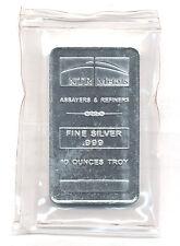 Silver Bar - 10 troy oz. .999 Fine Silver NTR Metals - New, Sealed