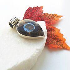 Äthiopischer Opal in Kupfer Türkis schwarz blau Anhänger 925 Sterling Silber neu