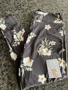 Lularoe TC gray with white flowers NWT leggings
