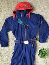Vintage Obermeyer Ski Suit Snow Blue Red Embroidered Womens Size 10 Gorgeous