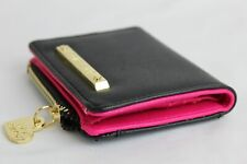 Betsey Johnson Black Shell Pink inside Wallet with Clear ID sleeve Coin Pocket