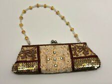 "Vintage Ladies Beaded Purse Evening Hand Bag 10"" Beaded Handle Small Clutch"
