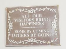 'All Our Visitors' Retro Metal Sign Ideal for Garden or Hallway 3898