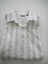 STRUCTURE MENS SZ XL WHITE W BLACK STRIPED LONG SLEEVE BUTTON DOWN DRESS SHIRT