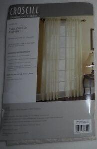 "Croscill Hammond Sheer Ivory One (1) Tailored Panel 47"" x 84"" NWT"
