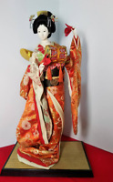 Vintage Japanese Geisha doll in Kimono on wooden base Antique BEAUTIFUL Orange