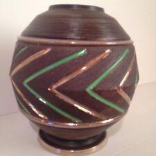 Lucien BRISDOUX grès vase boule géométrique bois chevrons vert or art déco 40 50