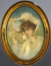 Framed 1916 Oval Pastel Drawing by Joseph W. Geis Detroit Woman in Bonnet w/ Fan