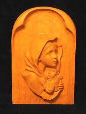 Catholic Gothic Wood carved Madonna Mary & Jesus Altar Shrine Holy Icon