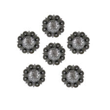 "Set of 6 Western Saddle Tack 1-1/4"" Antique Engraved Berry Conchos screw back"
