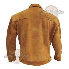 Para Hombre Chaqueta De Cuero Gamuza Vaquero 1076 Calidad Abrigo De Cuero Marrón Estilo Americano