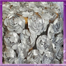ROSE  FLORAL  FLOWER SATIN ON MESH 58 INCHES WIDE SOLD BY THE YARD SILVER