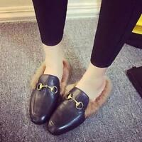 Womens pu leather Round Toe Fur Slippers Metal Warm Loafers Shoes Flats