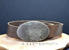 Vintage Handmade Mens Real Leather Belt Brown Size 32