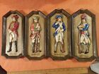 VINTAGE NAPCOWARE JAPAN WALL PICTURE PLAQUES FOUR  COLONIAL SOLDIERS WOOD LOOK