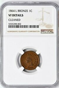 1864 L 1C Indian Head Bronze NGC VF Detail Cleaned Rare(I-5212) 99c NO RESERVE