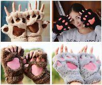 Wkawaii Women Gloves Cute Design Half Finger Style Warm Mittens Claws Hot Costum