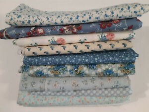 Lot Cotton Quilt Fabric Calico 20 yards Light Blues Floral VTG 2 yards each