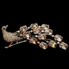 Large Brooch Magnificent Peacock with Topaz Coloured Crystals, antique gold