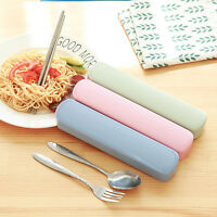 3pcs/Set Portable Stainless Steel Chopstick Spoon Fork Set Cutlery with Box
