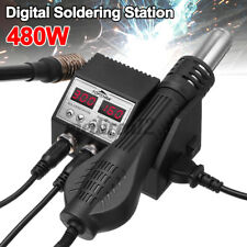 2 In 1 Lcd Digital Display Rework Soldering Station Iron Hot Air Gun With4 Nozzl