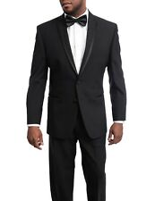 Premium Men's 46R Black 2 Button Tuxedo Suit Jacket 100% Wool Regular Fit