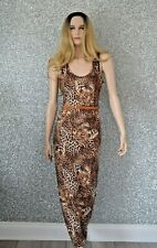 Leopard Maxi Dress and Belt Party Holiday Stretch Ladies Clubbing NWT Size 10