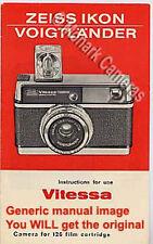 1968 Zeiss Ikon Voigtlander Vitessa 126cs Instamatic cámara manual de instrucciones
