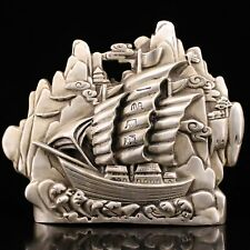 Chinese Collect Tibetan silver Inlaid zircon hand-carved Smooth sailing statue