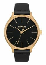 Nixon A1250-513 Clique Leather Women's Watch Black 38mm Stainless Steel