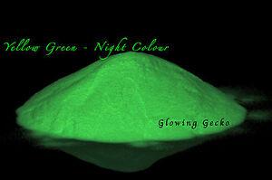 Higher Grade Glow in the Dark pigment powder - Yellow Green Medium Particle 50g
