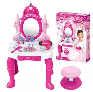 Princess Glamour Mirror Kids Girls Vanity Make Up Play Set Dressing Table Kit UK