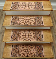 "Rug Depot Set of 13 Traditional Wool Non Slip Carpet Stair Treads 26"" x 9"" Peach"